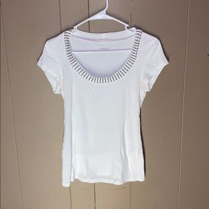 Bedazzled white  short sleeved shirt
